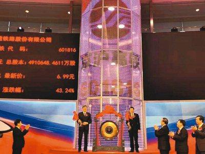京滬高鐵董事長劉洪潤(左)及上海市長應勇出席上市敲鑼。 網路照片