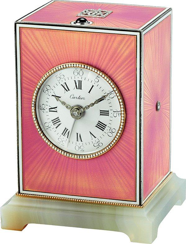 卡地亞古董珍藏系列報刻小自鳴與響鈴座鐘,1910年,玫瑰金環繞邊框搭配白色琺瑯「...