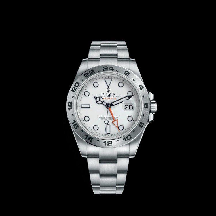 Rolex,EXPLORER II系列精鋼腕表,白色表面,具備時間顯示與第二地時...
