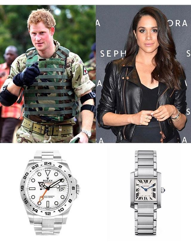 美國腕表部落客日前於Instagram帳號貼出一張哈利王子與梅根的腕表配戴照片。圖╱翻攝自iG @Wrist Enthusiast。