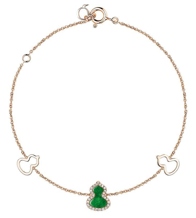 Qeelin,Petite Wulu18K玫瑰金鑽石翡翠手鍊,59,500元。圖...