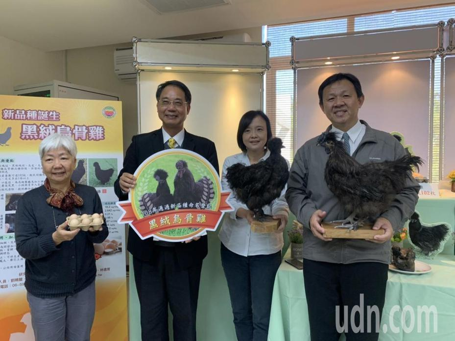 農委會畜試所所長黃振芳(左二)偕研究人員發表育成新品種「黑絨烏骨雞」。記者吳淑玲/攝影