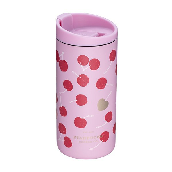 愛心櫻桃不鏽鋼杯,售價900元。圖/星巴克提供