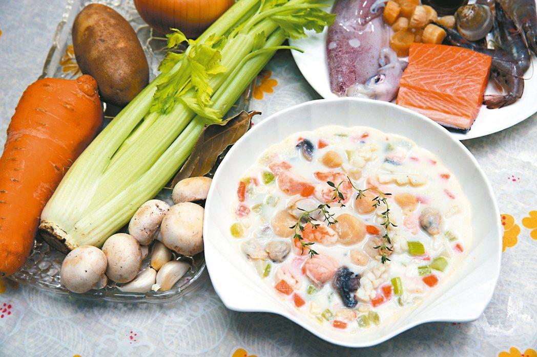 干貝海鮮巧達濃湯。 記者曾吉松/攝影