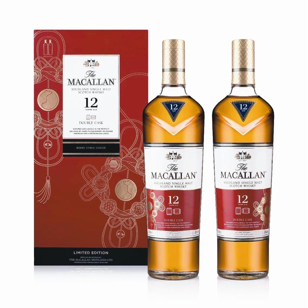 麥卡倫雪莉雙桶12年單一麥芽威士忌,酒精濃度達40%。 台灣愛丁頓寰盛洋酒/提供