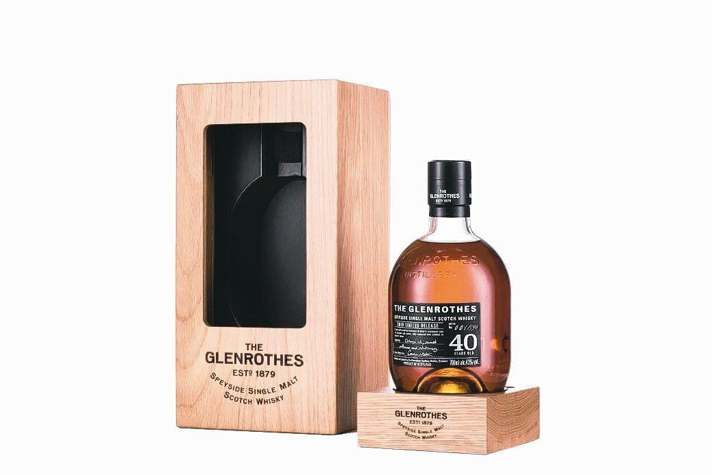 格蘭路思40年單一麥芽威士忌,酒精濃度達43%。 台灣愛丁頓寰盛洋酒/提供