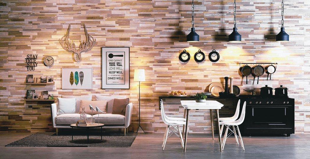 溫潤木質風格的自黏地壁兩用磚,可取代油漆粉刷,讓牆面煥然一新。 圖/特力屋提供