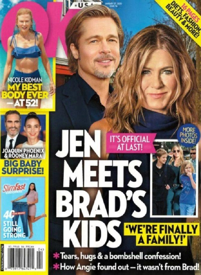 布萊德彼特、珍妮佛安妮絲頓被指已和他與裘莉的孩子見面。圖/摘自OK!