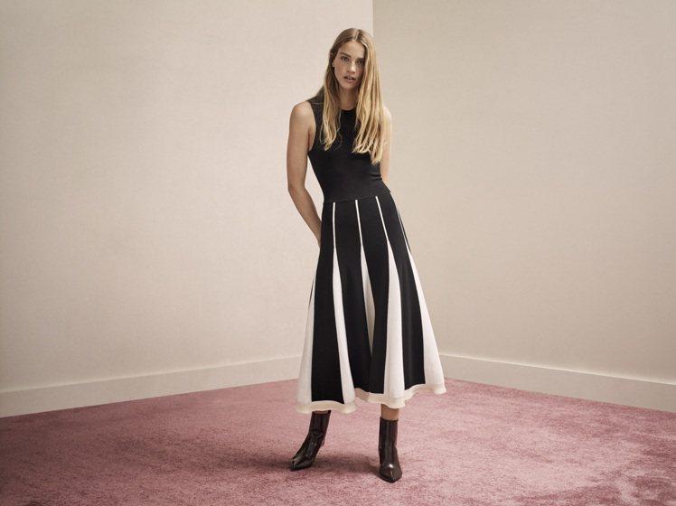 黑白條紋洋裝,售價14,990元。圖/CK CALVIN KLEIN提供
