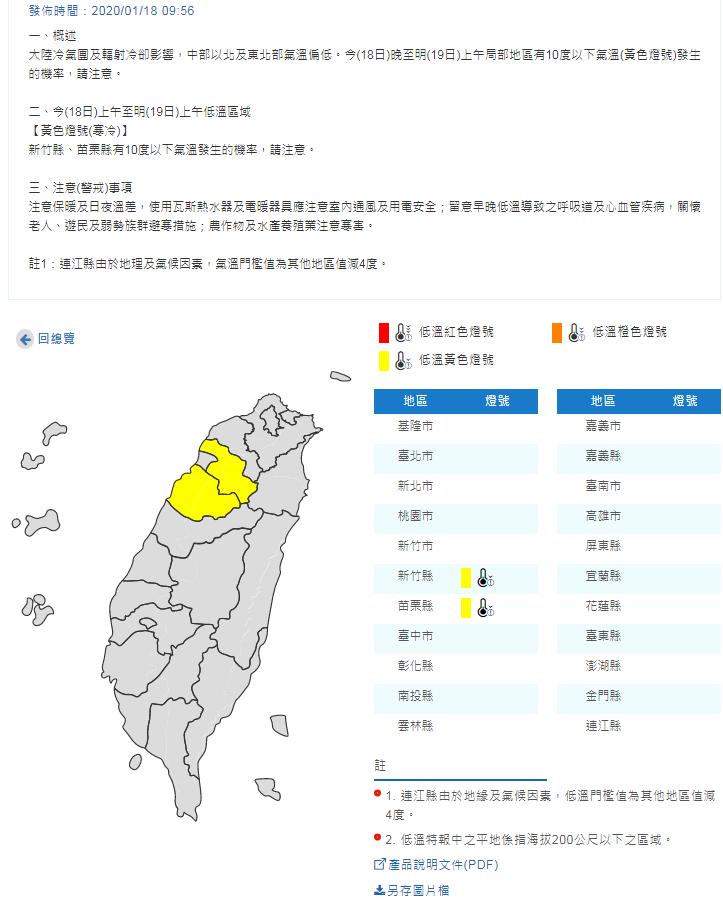 中央氣象局發布低溫特報。圖/氣象局提供
