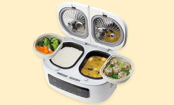 日本新上市的自動調理鍋「ツインシェフTwin Chef 」一機包含兩個內鍋,可同時烹調2~4種料理。圖/翻攝自Shop Japan網站