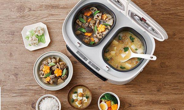 日本新上市的自動調理鍋「ツインシェフTwin Chef 」具備小份量、雙鍋槽特色...