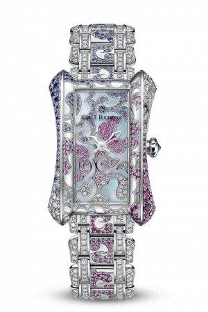 寶齊萊,雅麗嘉玫瑰限量珠寶腕表,白金表殼,石英機芯,時、分顯示,全球限量88只,...