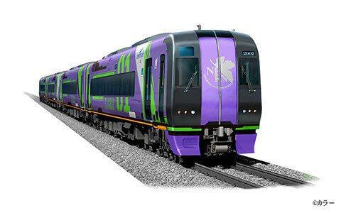 以紫綠經典配色登場的「初號機彩繪電車」。圖/擷取自中部国际空港 セントレア官網