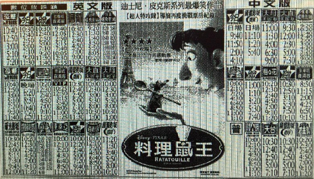 「料理鼠王」在台重振皮克斯動畫片的票房雄風。圖/翻攝自民國96年聯合報