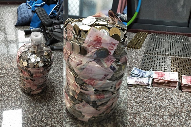 有名網友曝光自己用飲水桶存兩年的存款,其他人見照片全驚呆。 圖片來源/爆廢公社