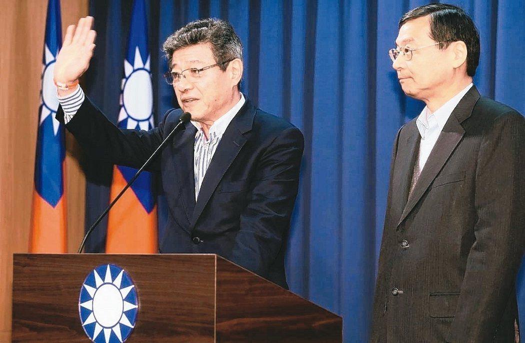 國民黨代理黨主席林榮德(左)。 圖/聯合報系資料照片