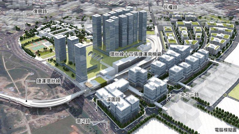 新店十四張(B單元)區段徵收區開發完成模擬圖。圖/新北市地政局提供