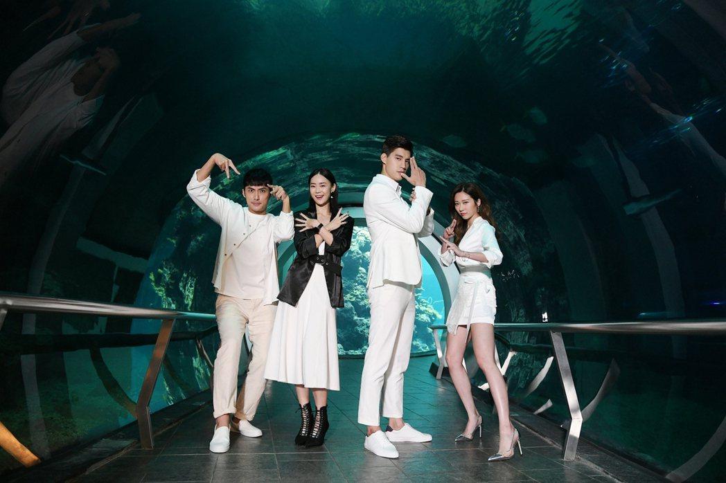 李運慶(左起)鍾瑶、羅宏正和張景嵐演出「跟鯊魚接吻」。圖/三立提供