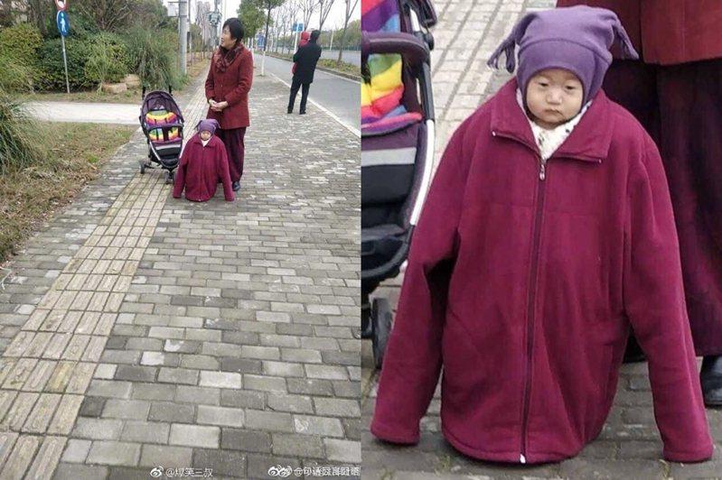 小孩被穿太多衣服在身上,一臉厭世笑翻網友。 圖片來源/爆笑公社