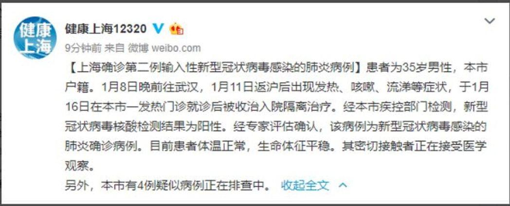 圖/上海市衛生健康委員會官方微博「健康上海12320」截圖