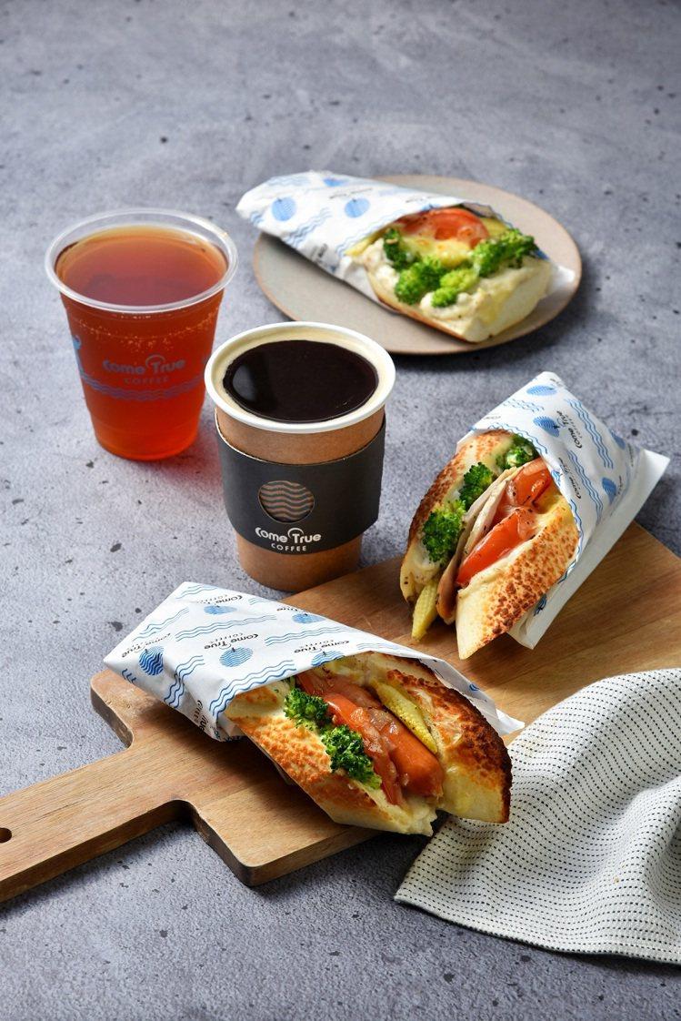 「成真咖啡」自2/1起開賣早餐,輕食+飲品均一價88元。圖/環球購物中心提供