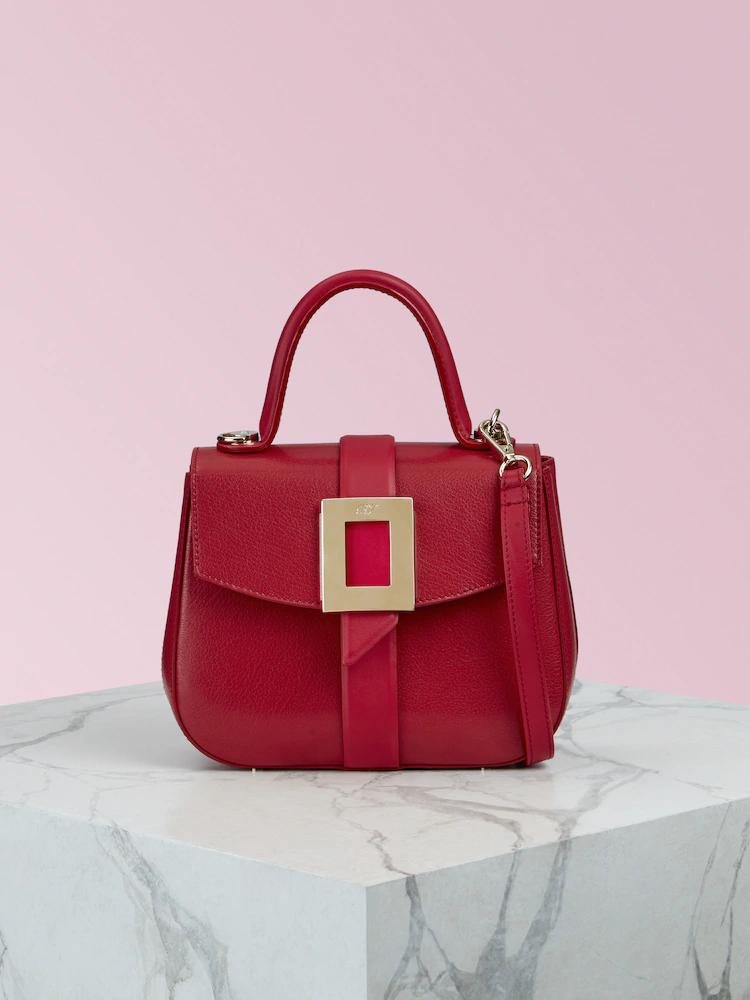 Beau Vivier Mini紅色山羊皮提包,90,200元。圖/迪生提供