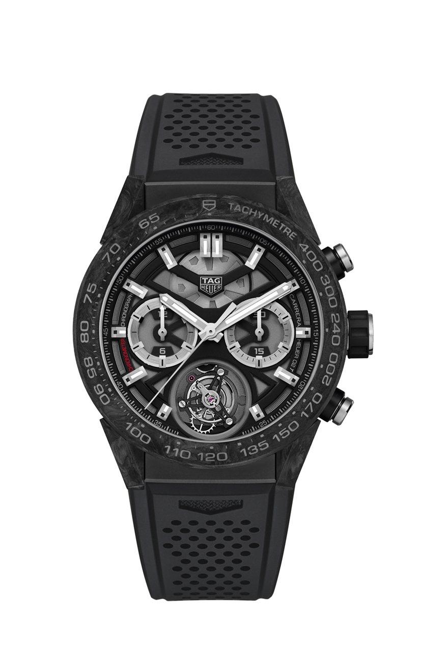 泰格豪雅Carrera Heuer 02T陀飛輪計時碼表,碳纖維表殼,約58萬5...