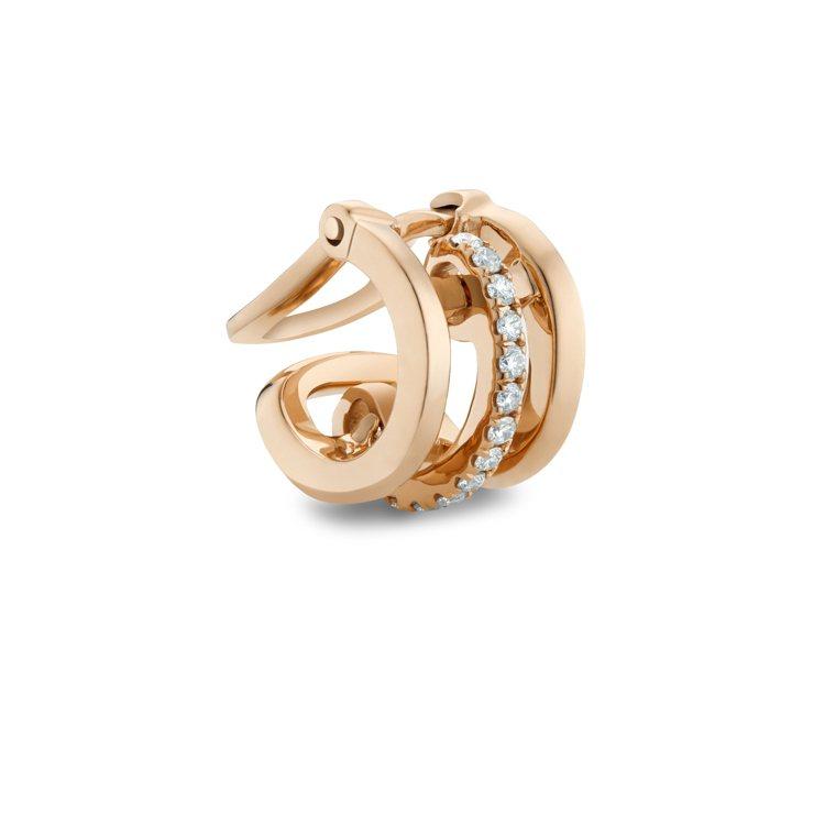 De Beers Horizon 18K玫瑰金鑽石耳骨夾,約33,000元。圖/...