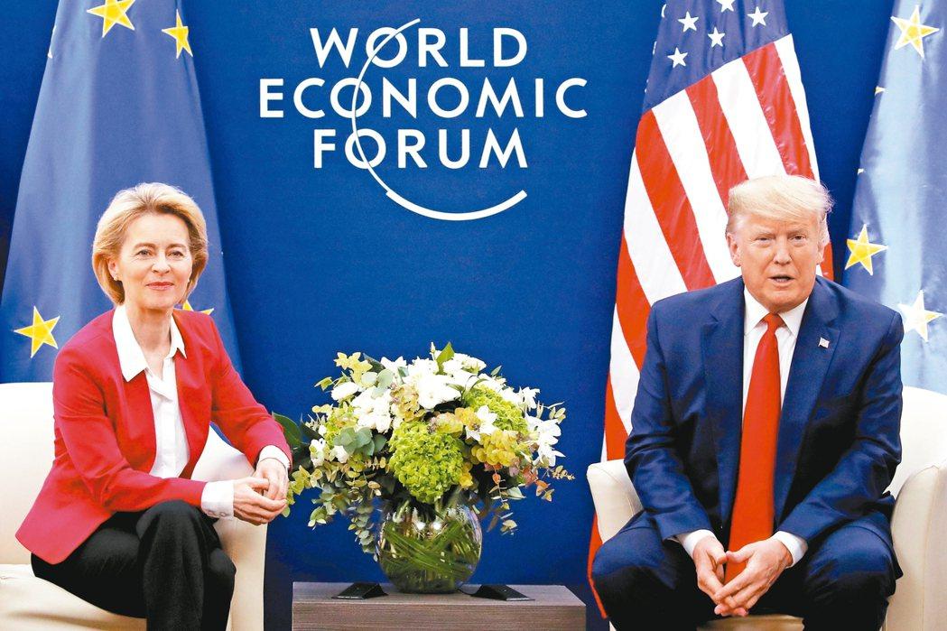 美國總統川普(右)21日在瑞士達沃斯會晤歐盟執委會主席馮德萊恩(左)。 歐新社