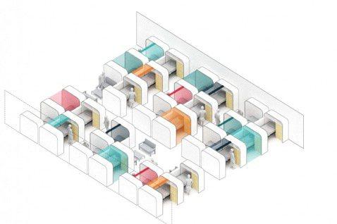 模組化的設計讓一個約 2 公尺高的櫃形房間可以有床位、床頭櫃、儲物櫃以及插座。 ...