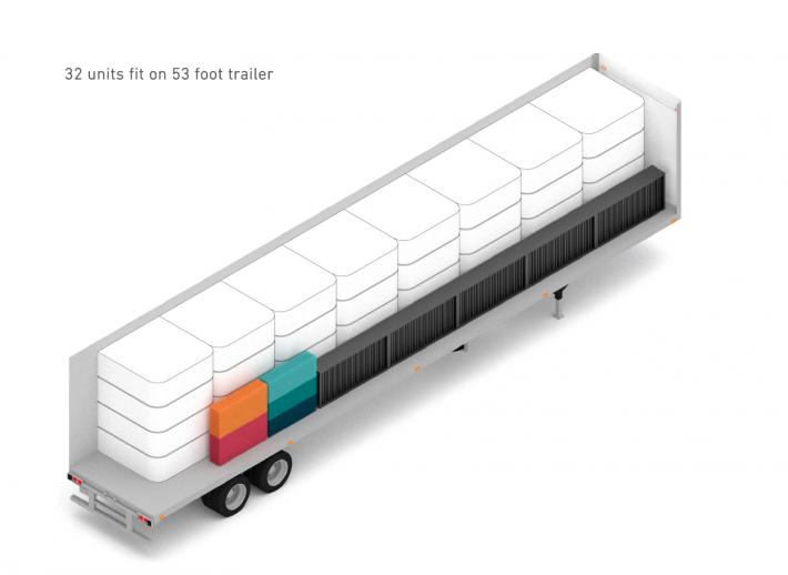 櫃型房間可由大卡車運送。 圖/DOME