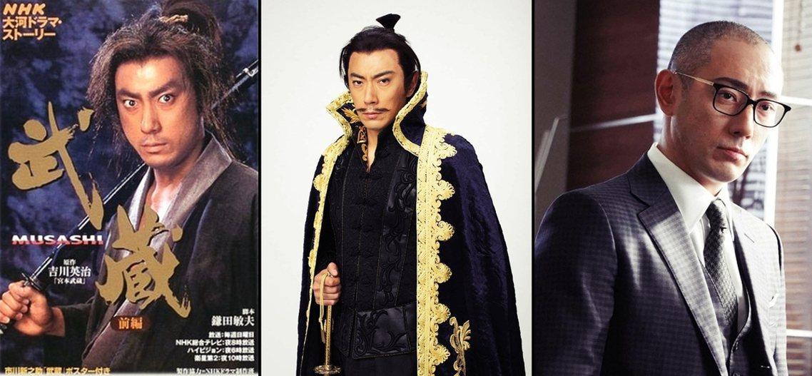 海老藏就多次演出過電視劇,圖由左至右分別是:海老藏主演的2003年大河劇《武蔵 ...