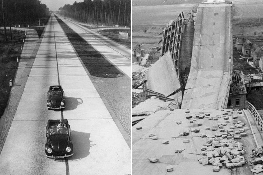 圖左為行駛在納粹德國時期的KdF車(金龜車前身);圖右則是納粹兵敗山倒時,自行炸...