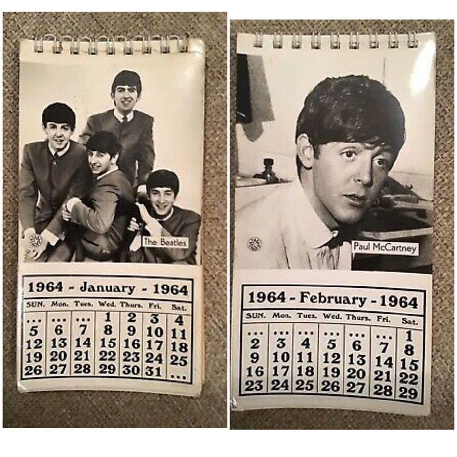 1964年英國傳奇樂隊The Beatles(披頭四)的月曆,時隔56年竟與今年的所有日期完全符合。圖擷自臉書