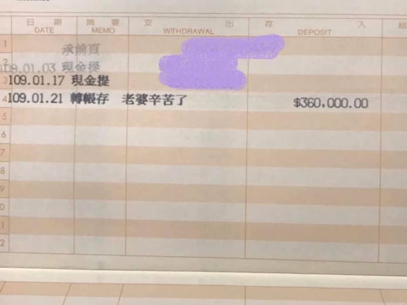 一位女網友在家當全職太太,沒有出外工作卻意外收到霸氣老公匯入款的36萬元當年終,令她甚是感動。 圖/取自爆廢公社