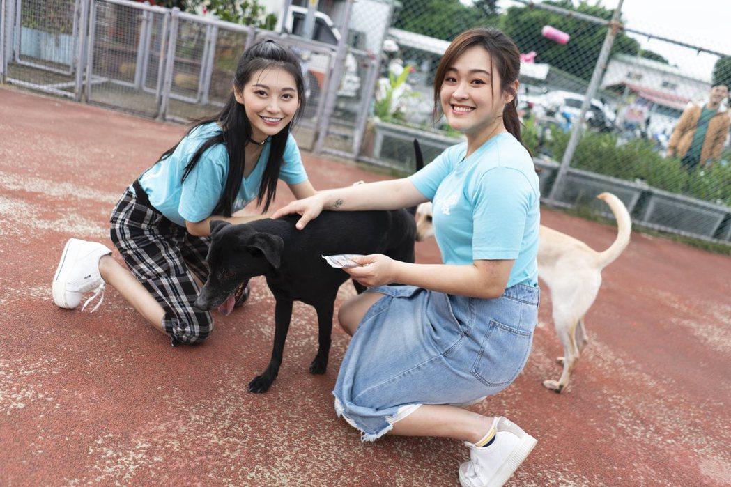 祈錦鈅(左)和許莉潔擔任流浪犬一日志工。圖/毛小愛提供