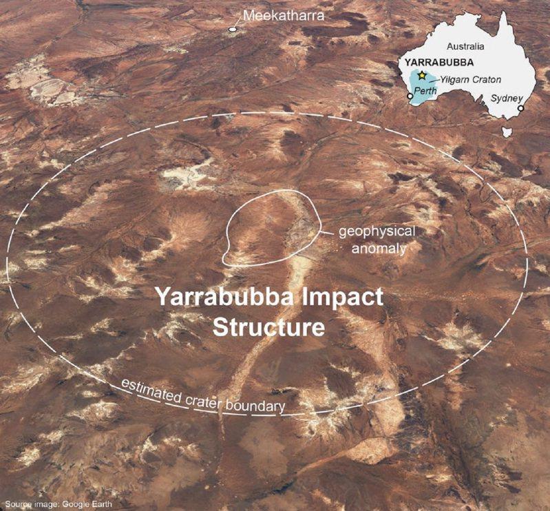 《自然通訊》期刊22日刊登研究指出,澳洲西澳省內陸的亞拉布巴隕石坑是世上已知最古老隕石坑,年代至少約22億年,撞擊當時可能還讓地表脫離冰河期。但經歷長期侵蝕風化,亞拉布巴隕石坑現已變得非常平坦,無法用肉眼觀察撞擊結構和原始大小。畫面翻攝:The Conversation/Google Earth