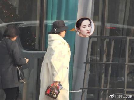 劉亦菲被野生捕獲,穿著白色大衣外型看來有些發福。圖/摘自微博
