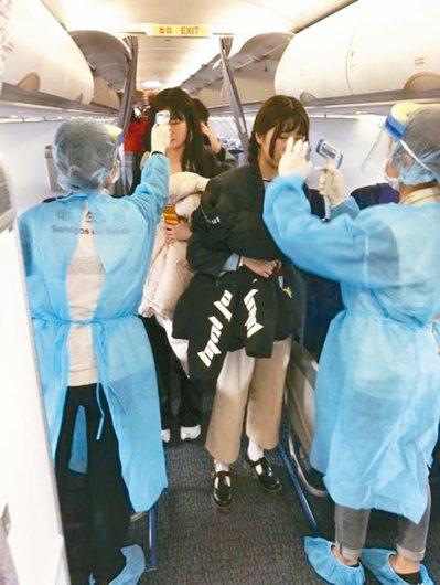 中國航空武漢飛澳門班機抵達後,澳門檢疫人員測量乘客體溫檔案照。(圖非當事人) 圖...