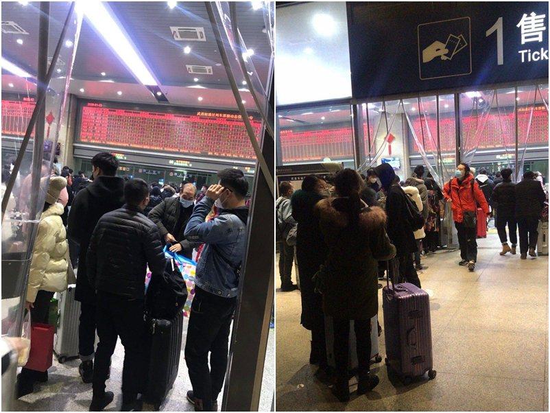 武漢火車站凌晨大排長龍。取自微博圖片