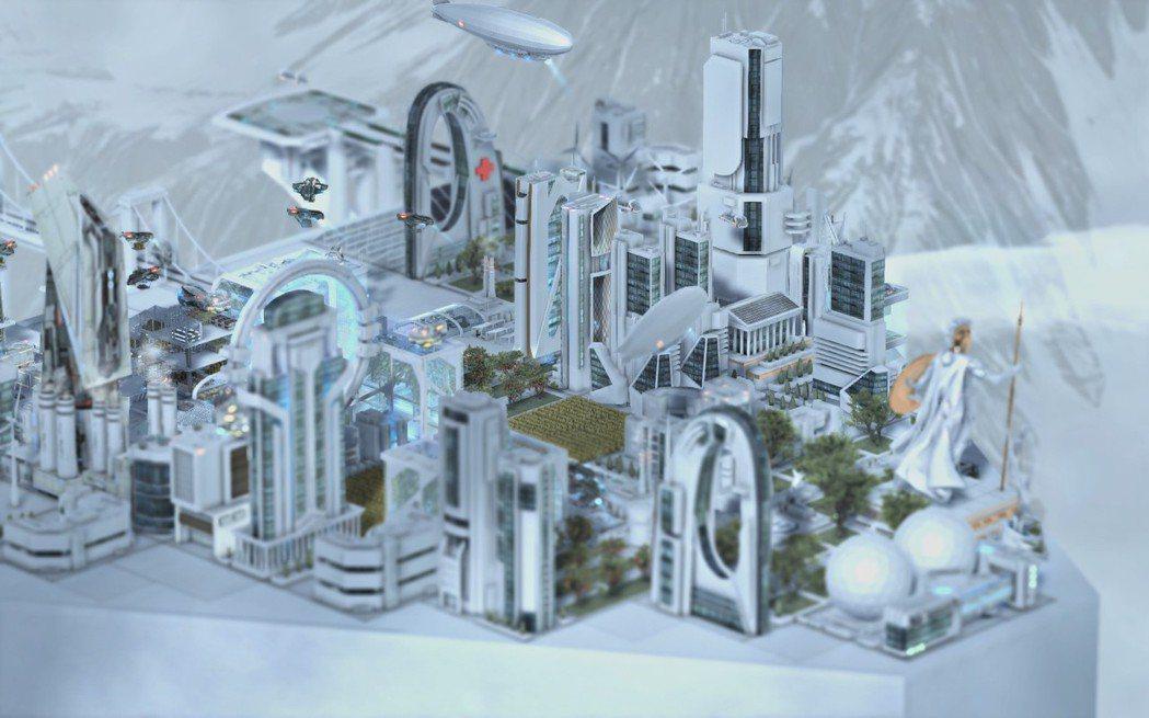 潔白的高科技城市看起來就是舒服