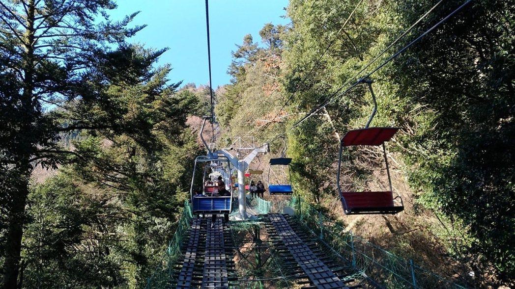 高尾山可搭雙人吊椅,少走40分鐘山路。記者楊德宜/攝影