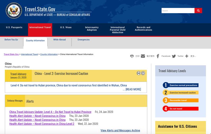 美國國務院領事事務局24日更新旅遊警示,對中國大陸湖北省的警示升至第四級「請勿前往」。圖/取自國務院領事局