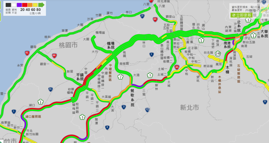 高速公路25日11時許的路況,北部多個南向路段紫爆。圖/取自高公局官方網站