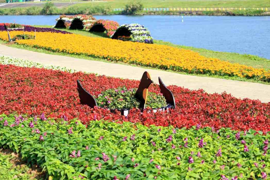 觀山河濱公園有以7.6萬盆當季花草打造的花海美景。圖/取自台北市水利工程處官網