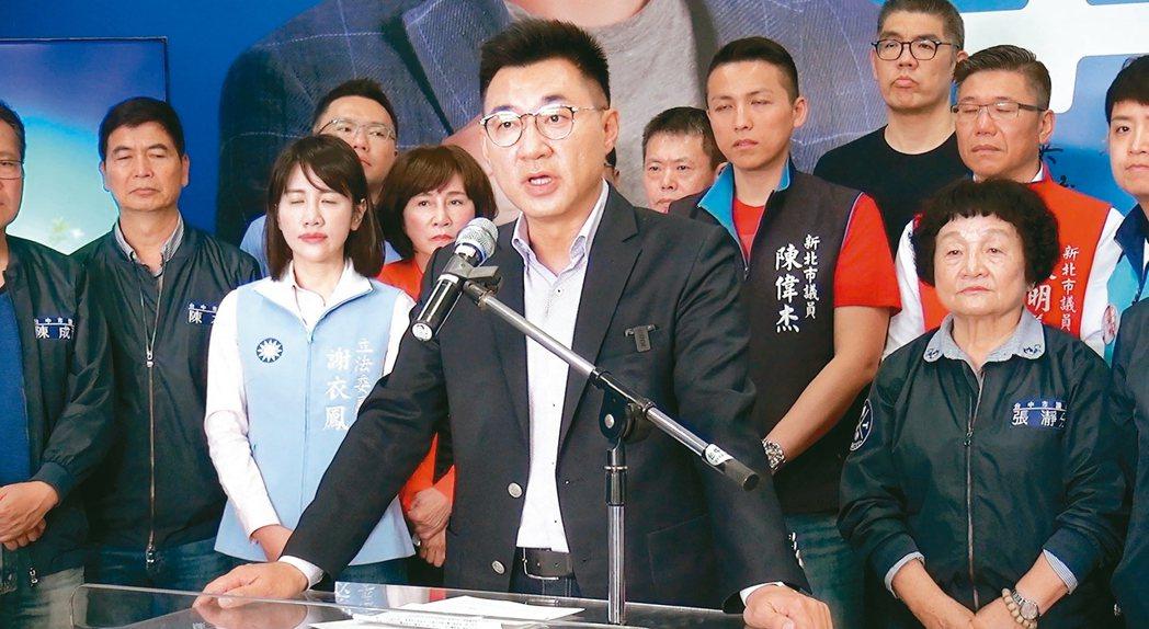 立法委員江啟臣(中)昨宣布參選國民黨主席,並宣示如果當選,將展開五項黨的改造工作...
