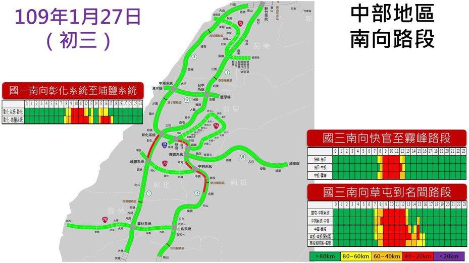 中部地區南向路段預測路況。圖/高公局提供