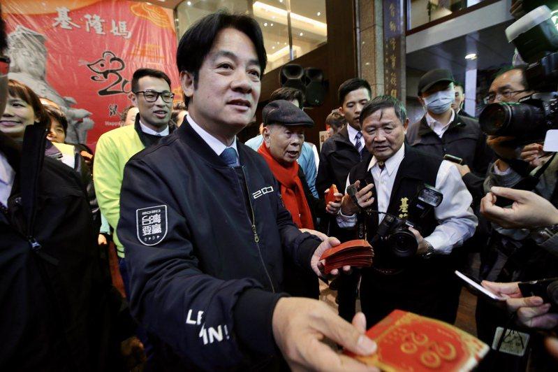 副總統當選人賴清德今天表示,武漢疫情會衝擊經濟表現,不論是中國或國際市場均將受影響,但相信總統蔡英文以及專業財經團隊會帶領台灣走過衝擊。聯合報記者許正宏/攝影