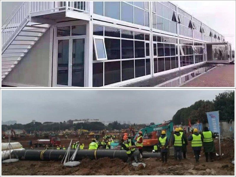 火神山醫院第一棟樓已火速完工。圖取自星島網
